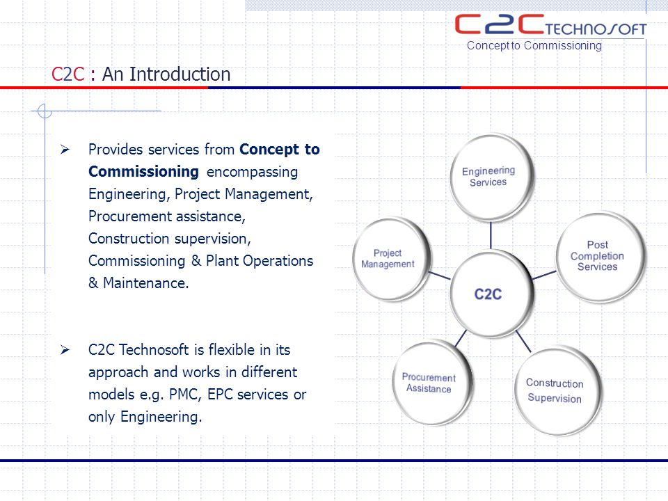 C2C : Business Segment  Business Segment (Core competence): Concept to Commissioning  Oil & Gas Offshore Onshore  Pipelines  Tanks and Terminals  Refineries & Petrochemicals  Power  Chemical  Pharmaceuticals