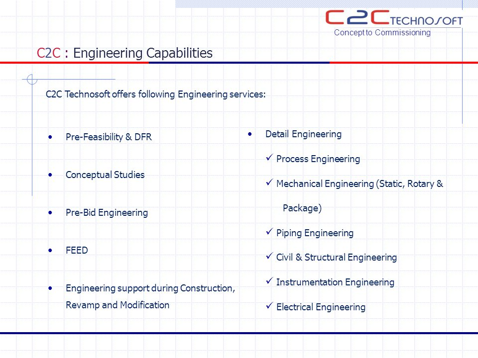 C2C : Engineering Capabilities Pre-Feasibility & DFR Conceptual Studies Pre-Bid Engineering FEED Engineering support during Construction, Revamp and M