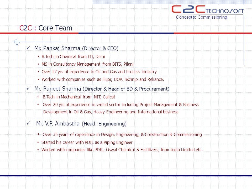 C2C : Core Team Concept to Commissioning Mr.R.