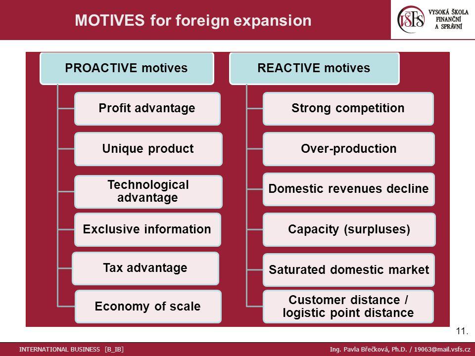 11. MOTIVES for foreign expansion PROACTIVE motivesProfit advantageUnique product Technological advantage Exclusive informationTax advantageEconomy of