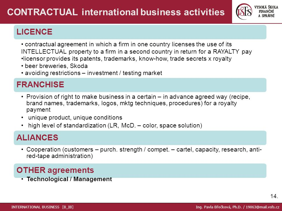 14. CONTRACTUAL international business activities LICENCE contractual agreement in which a firm in one country licenses the use of its INTELLECTUAL pr