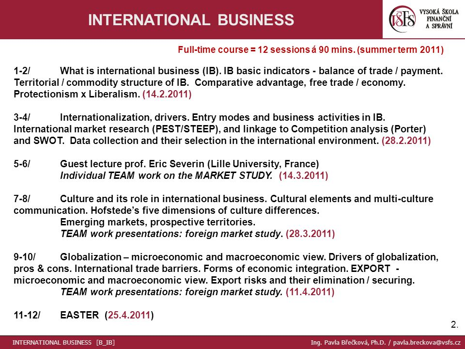 2.2. INTERNATIONAL BUSINESS Full-time course = 12 sessions á 90 mins.