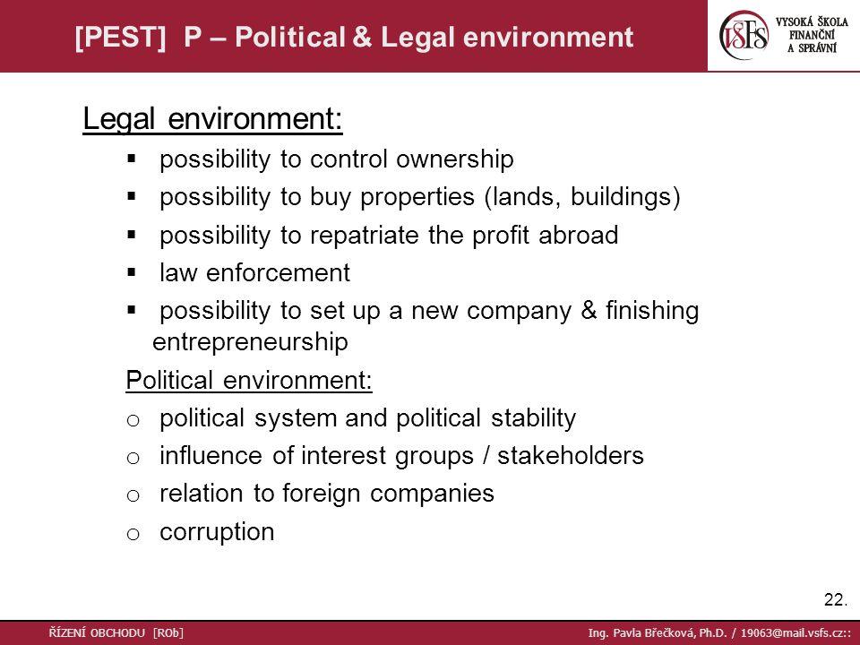 22. ŘÍZENÍ OBCHODU [ROb] Ing. Pavla Břečková, Ph.D. / 19063@mail.vsfs.cz:: [PEST] P – Political & Legal environment Legal environment:  possibility t