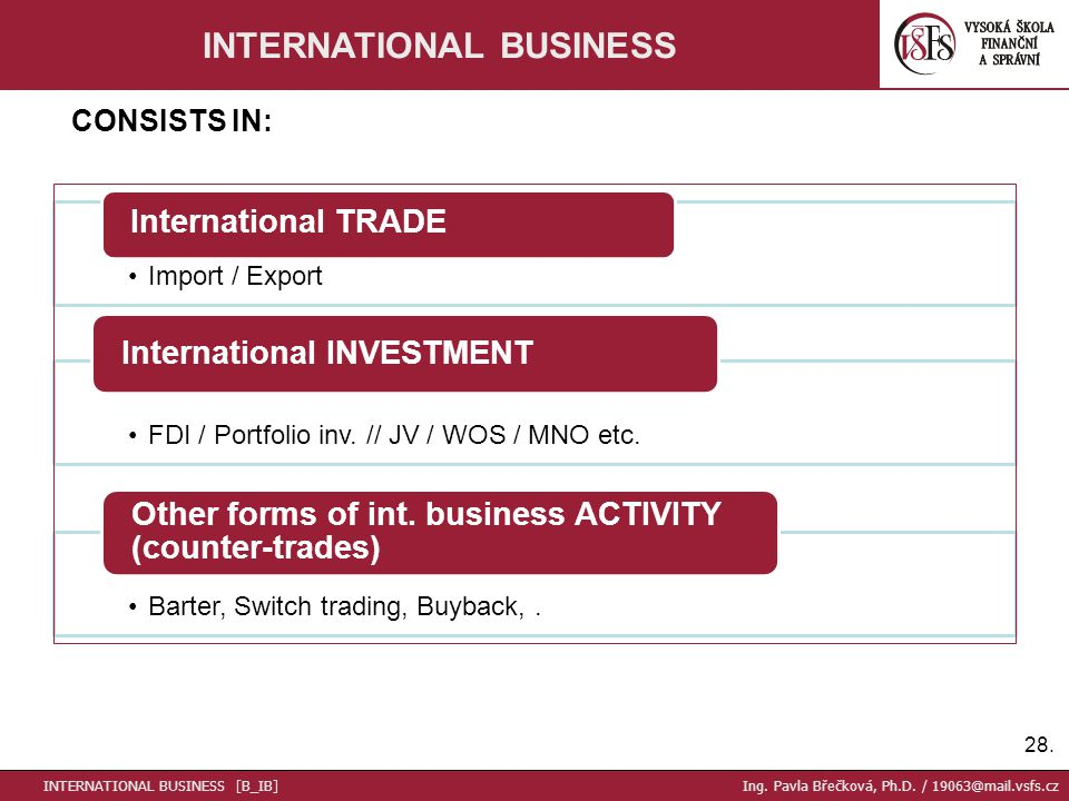 Import / Export International TRADE FDI / Portfolio inv.