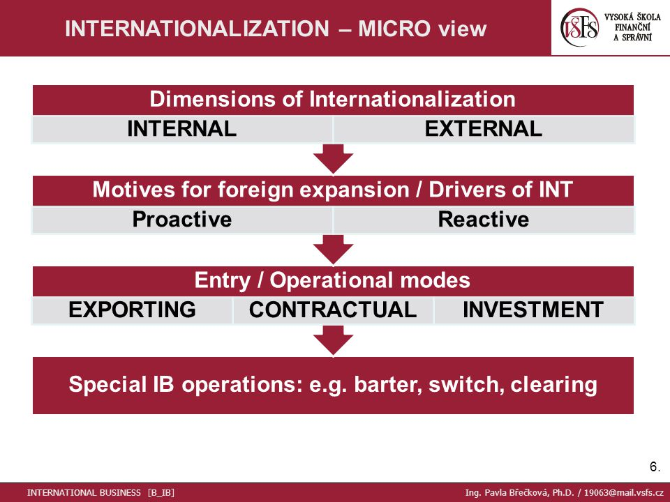 6.6. INTERNATIONALIZATION – MICRO view INTERNATIONAL BUSINESS [B_IB] Ing.
