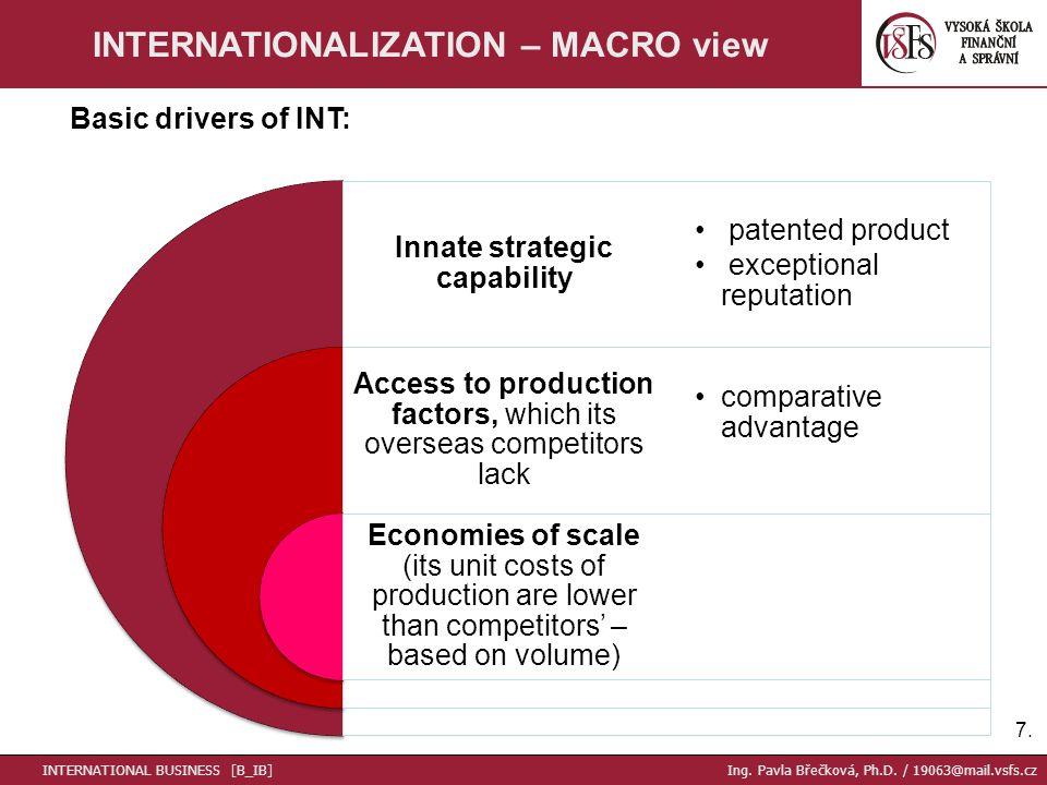 7.7. INTERNATIONALIZATION – MACRO view INTERNATIONAL BUSINESS [B_IB] Ing. Pavla Břečková, Ph.D. / 19063@mail.vsfs.cz Innate strategic capability Acces