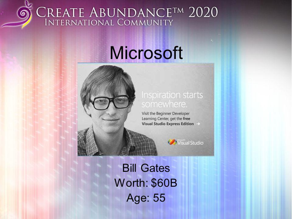 Microsoft Bill Gates Worth: $60B Age: 55