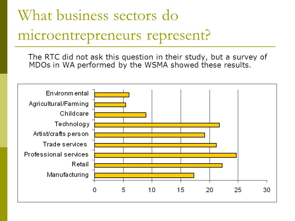 What business sectors do microentrepreneurs represent.