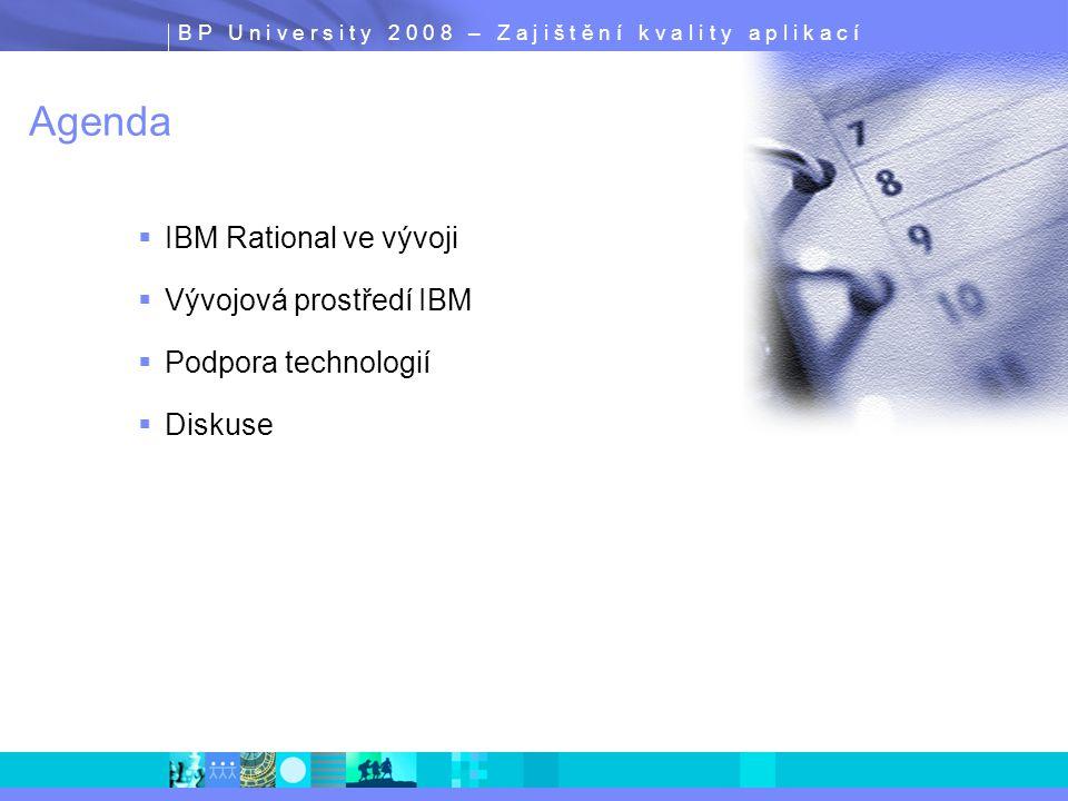 B P U n i v e r s i t y 2 0 0 8 – Z a j i š t ě n í k v a l i t y a p l i k a c í Agenda  IBM Rational ve vývoji  Vývojová prostředí IBM  Podpora t