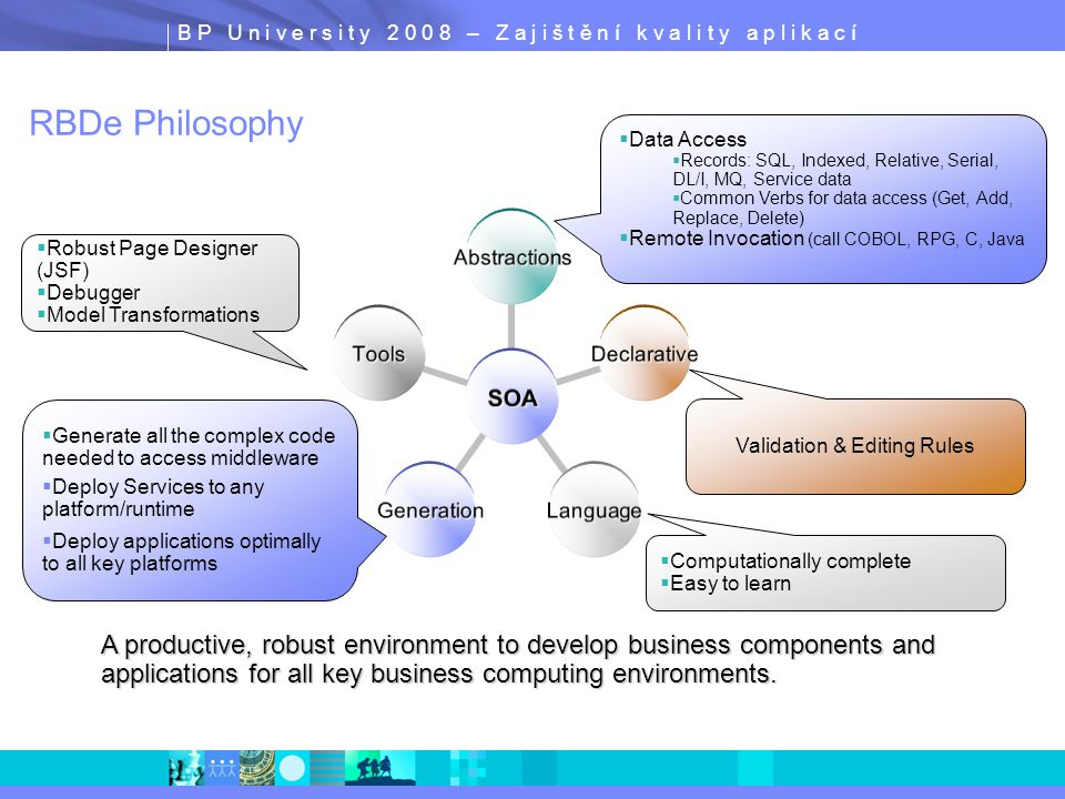 B P U n i v e r s i t y 2 0 0 8 – Z a j i š t ě n í k v a l i t y a p l i k a c í RBDe Philosophy SOA Abstractions Declarative LanguageGeneration Tools A productive, robust environment to develop business components and applications for all key business computing environments.