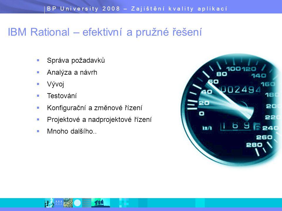 B P U n i v e r s i t y 2 0 0 8 – Z a j i š t ě n í k v a l i t y a p l i k a c í IBM Rational – efektivní a pružné řešení  Správa požadavků  Analýz