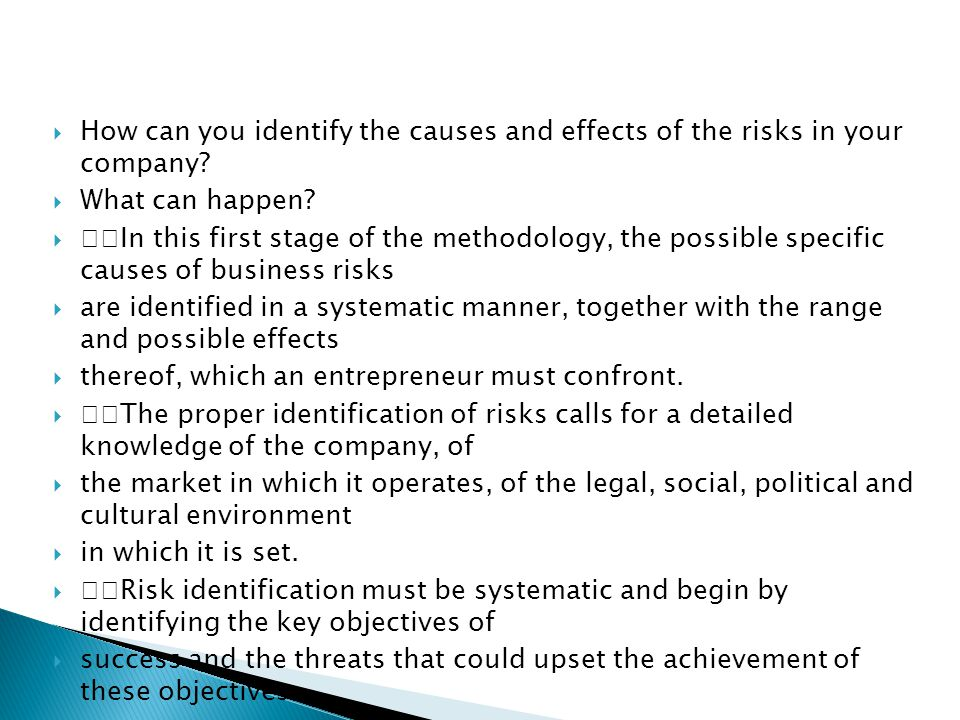  How can you identify the causes and effects of the risks in your company.