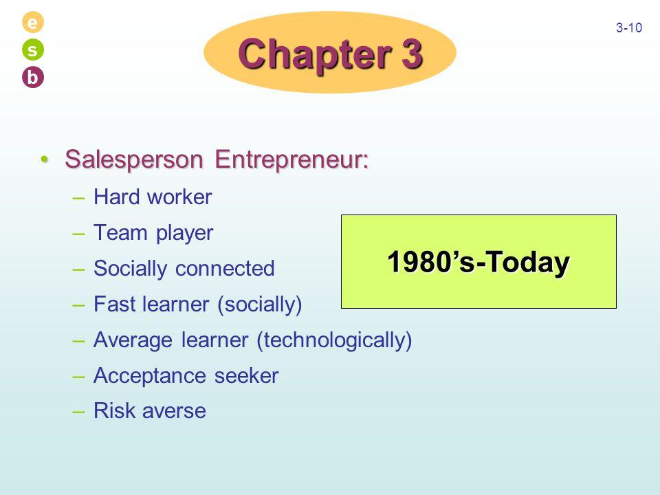 e s b 3-10 Salesperson Entrepreneur:Salesperson Entrepreneur: –Hard worker –Team player –Socially connected –Fast learner (socially) –Average learner