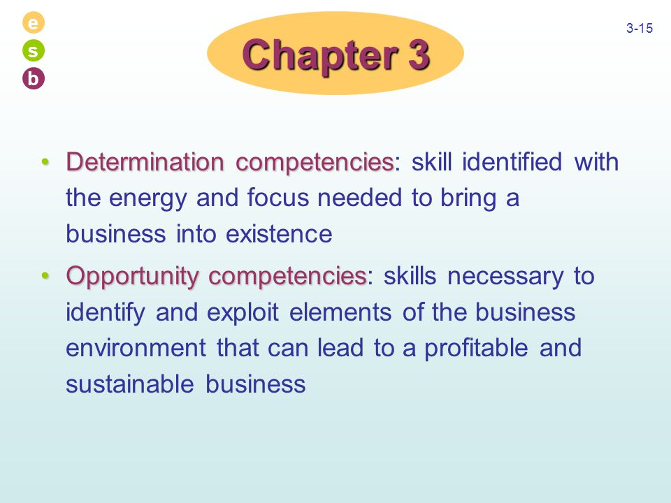 e s b 3-15 Determination competenciesDetermination competencies: skill identified with the energy and focus needed to bring a business into existence Opportunity competenciesOpportunity competencies: skills necessary to identify and exploit elements of the business environment that can lead to a profitable and sustainable business Chapter 3
