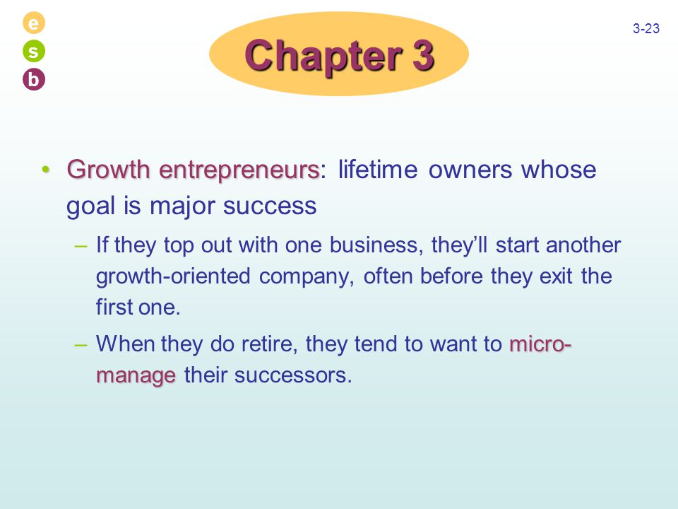 e s b 3-23 Growth entrepreneursGrowth entrepreneurs: lifetime owners whose goal is major success –If they top out with one business, they'll start another growth-oriented company, often before they exit the first one.