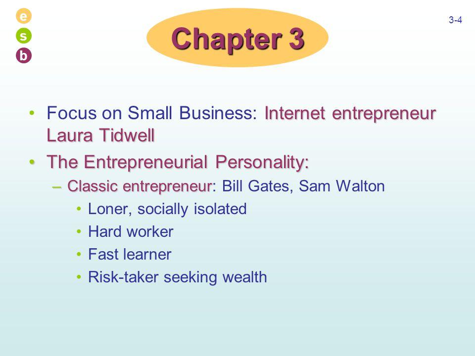 e s b 3-4 Internet entrepreneur Laura TidwellFocus on Small Business: Internet entrepreneur Laura Tidwell The Entrepreneurial Personality:The Entrepre