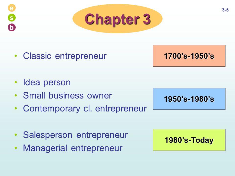 e s b 3-5 Classic entrepreneur Idea person Small business owner Contemporary cl. entrepreneur Salesperson entrepreneur Managerial entrepreneur Chapter