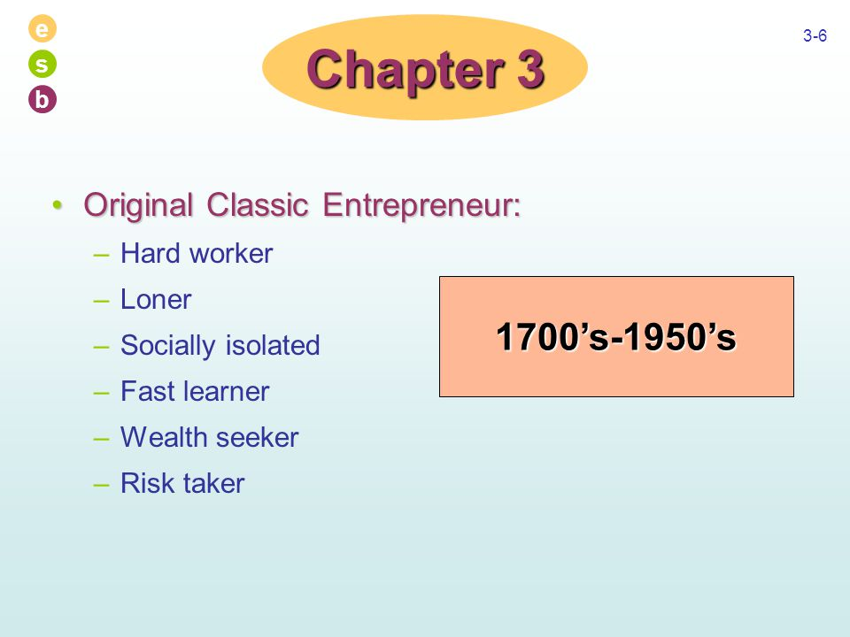 e s b 3-6 Original Classic Entrepreneur:Original Classic Entrepreneur: –Hard worker –Loner –Socially isolated –Fast learner –Wealth seeker –Risk taker