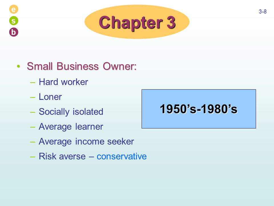 e s b 3-8 Small Business Owner:Small Business Owner: –Hard worker –Loner –Socially isolated –Average learner –Average income seeker –Risk averse – conservative Chapter 3 1950's-1980's