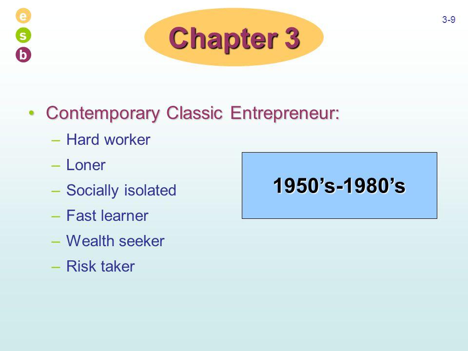 e s b 3-9 Contemporary Classic Entrepreneur:Contemporary Classic Entrepreneur: –Hard worker –Loner –Socially isolated –Fast learner –Wealth seeker –Ri