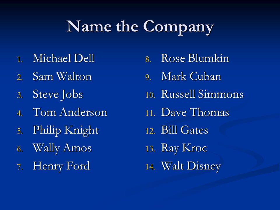 Name the Company 1. Michael Dell 2. Sam Walton 3. Steve Jobs 4. Tom Anderson 5. Philip Knight 6. Wally Amos 7. Henry Ford 8. Rose Blumkin 9. Mark Cuba