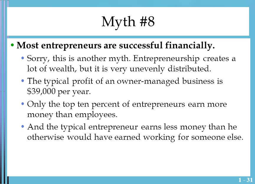 1 - 32 Myth #9 Many start-ups achieve the sales growth projections that equity investors are looking for.