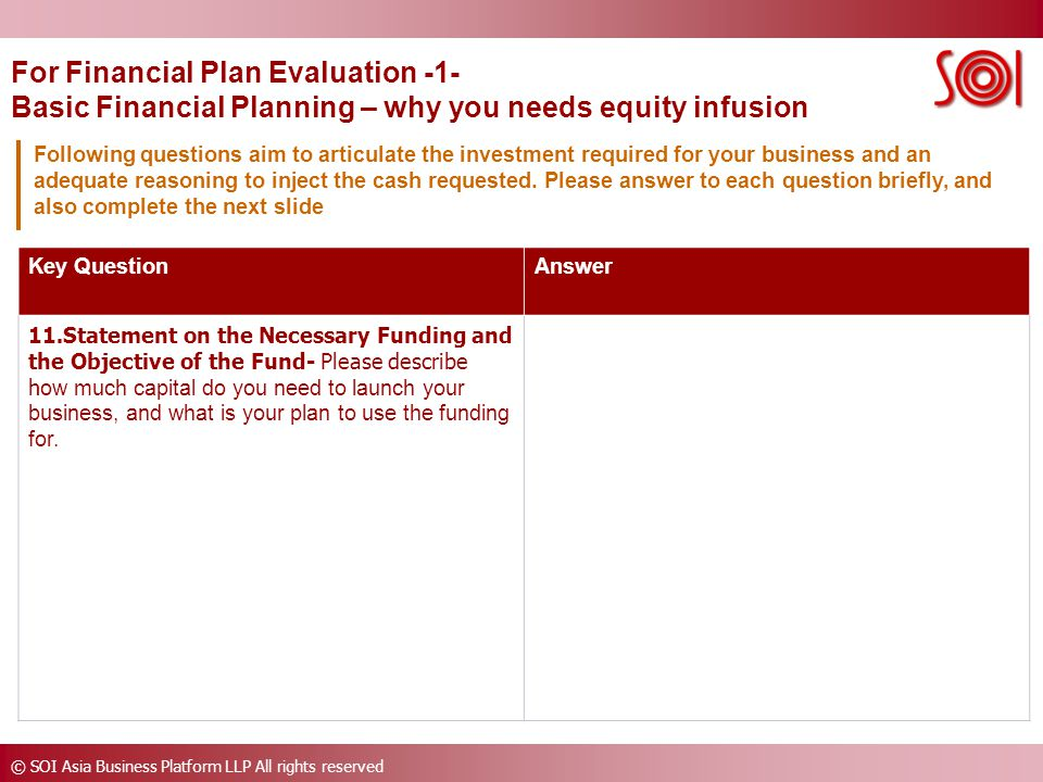 © SOI Asia Business Platform LLP All rights reserved Key QuestionAnswer 11.Statement on the Necessary Funding and the Objective of the Fund- Please describe h ow much capital do you need to launch your business, and what is your plan to use the funding for.