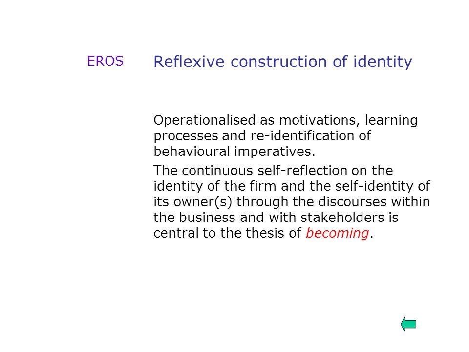 Reflexive construction of identity Operationalised as motivations, learning processes and re-identification of behavioural imperatives. The continuous