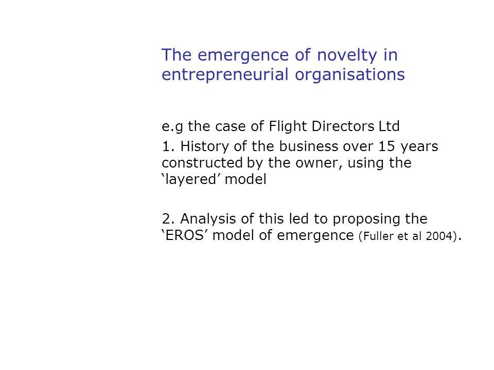 The emergence of novelty in entrepreneurial organisations e.g the case of Flight Directors Ltd 1.