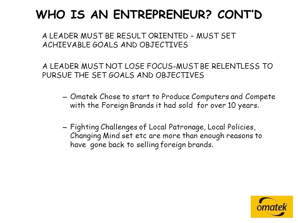 WHO IS AN ENTREPRENEUR.