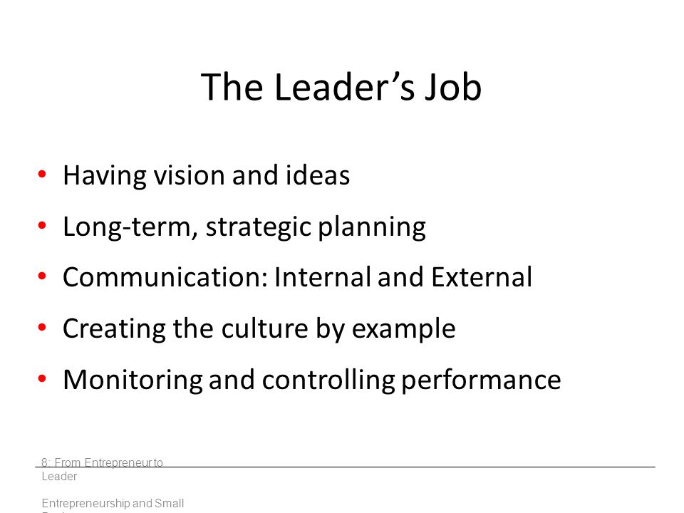 The Leader's Job Having vision and ideas Long-term, strategic planning Communication: Internal and External Creating the culture by example Monitoring and controlling performance 8: From Entrepreneur to Leader Entrepreneurship and Small Business