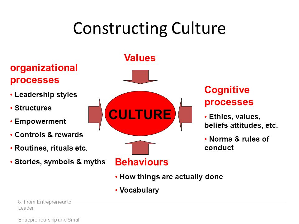 Constructing Culture 8: From Entrepreneur to Leader Entrepreneurship and Small Business CULTURE Cognitive processes Ethics, values, beliefs attitudes, etc.
