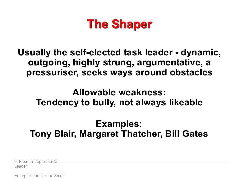 8: From Entrepreneur to Leader Entrepreneurship and Small Business Usually the self-elected task leader - dynamic, outgoing, highly strung, argumentative, a pressuriser, seeks ways around obstacles Allowable weakness: Tendency to bully, not always likeable Examples: Tony Blair, Margaret Thatcher, Bill Gates The Shaper
