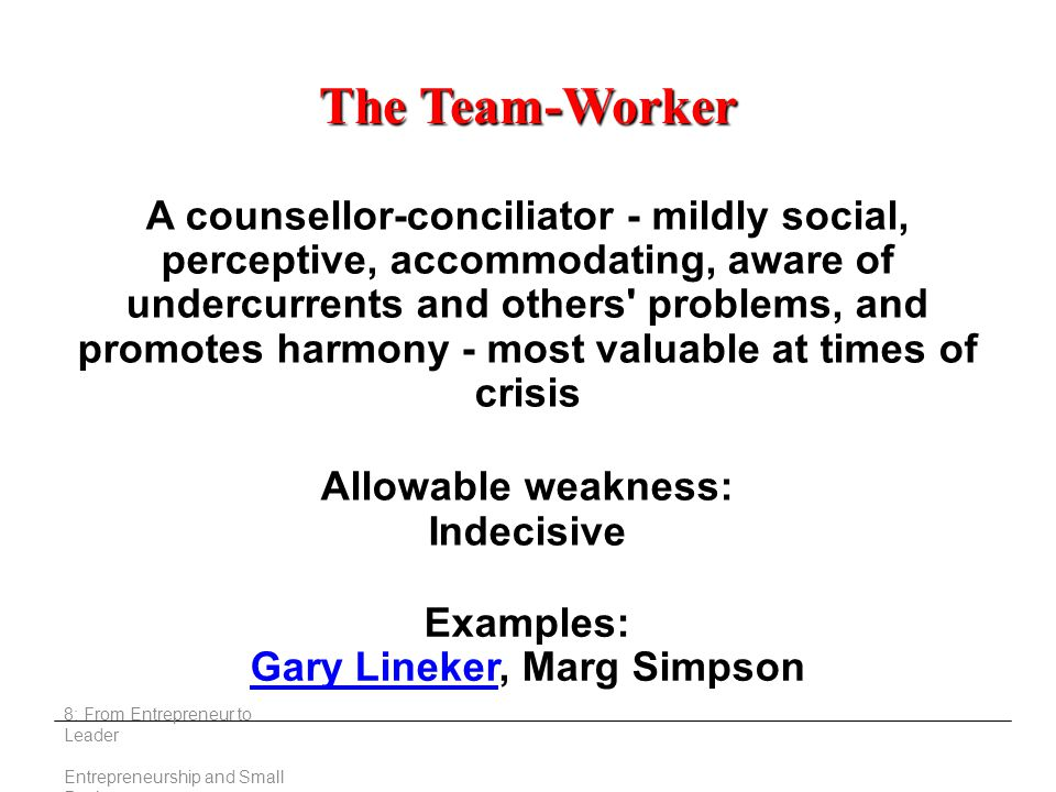 8: From Entrepreneur to Leader Entrepreneurship and Small Business The Team-Worker A counsellor-conciliator - mildly social, perceptive, accommodating, aware of undercurrents and others problems, and promotes harmony - most valuable at times of crisis Allowable weakness: Indecisive Examples: Gary LinekerGary Lineker, Marg Simpson