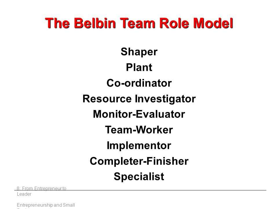 8: From Entrepreneur to Leader Entrepreneurship and Small Business The Belbin Team Role Model Shaper Plant Co-ordinator Resource Investigator Monitor-Evaluator Team-Worker Implementor Completer-Finisher Specialist
