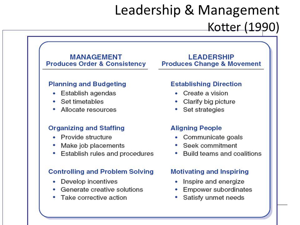 Leadership & Management Kotter (1990)