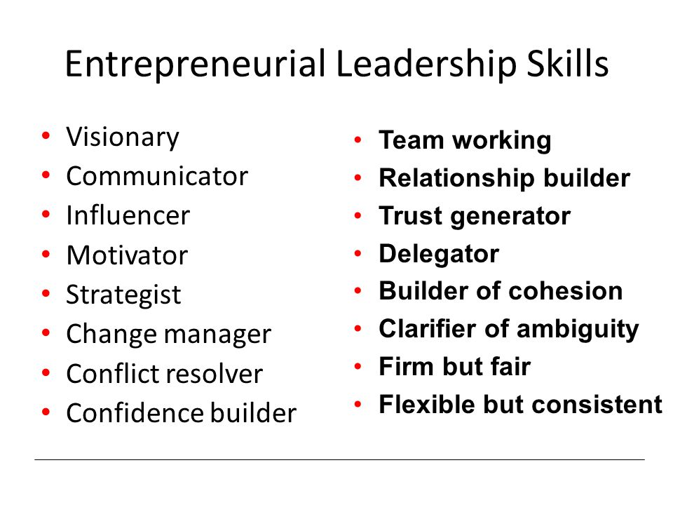 Entrepreneurial Leadership Skills Visionary Communicator Influencer Motivator Strategist Change manager Conflict resolver Confidence builder Team working Relationship builder Trust generator Delegator Builder of cohesion Clarifier of ambiguity Firm but fair Flexible but consistent