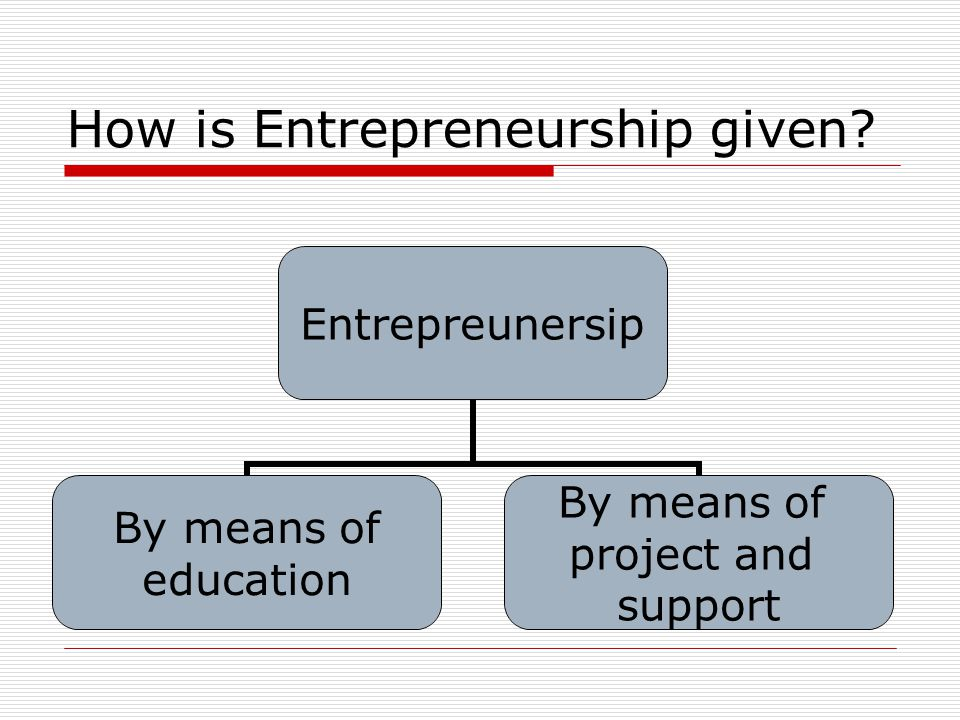 How is Entrepreneurship given? Entrepreunersip By means of education By means of project and support