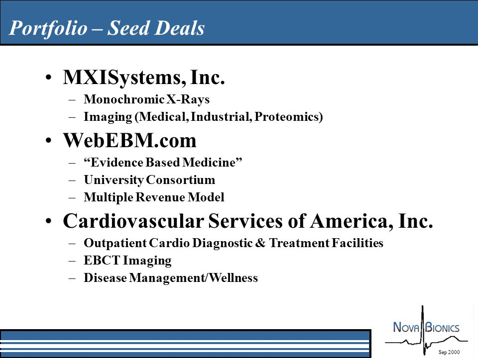 Portfolio – Seed Deals Sep 2000 MXISystems, Inc.