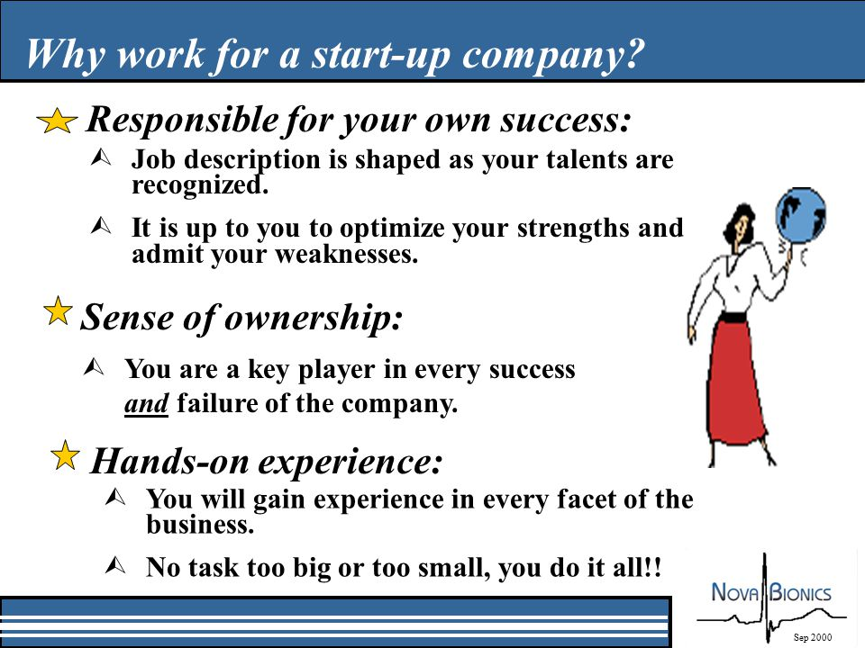 Why work for a start-up company.