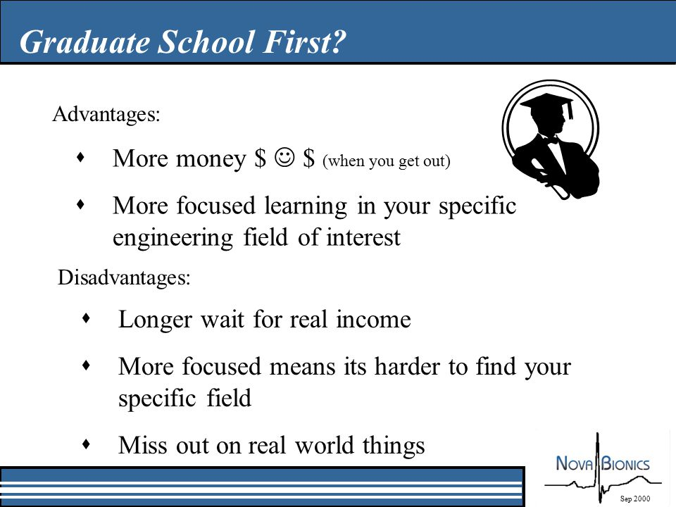 Graduate School First? sMore money $ $ (when you get out) sMore focused learning in your specific engineering field of interest Sep 2000 Advantages: D