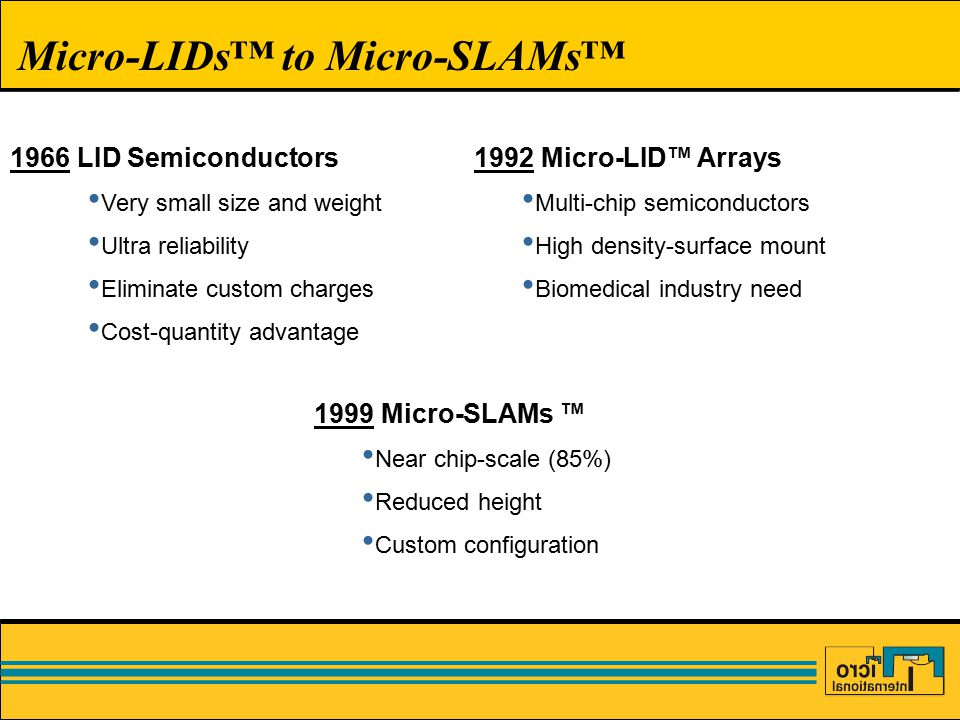 Micro-LIDs™ to Micro-SLAMs™ 1966 LID Semiconductors Very small size and weight Ultra reliability Eliminate custom charges Cost-quantity advantage 1999 Micro-SLAMs ™ Near chip-scale (85%) Reduced height Custom configuration 1992 Micro-LID™ Arrays Multi-chip semiconductors High density-surface mount Biomedical industry need