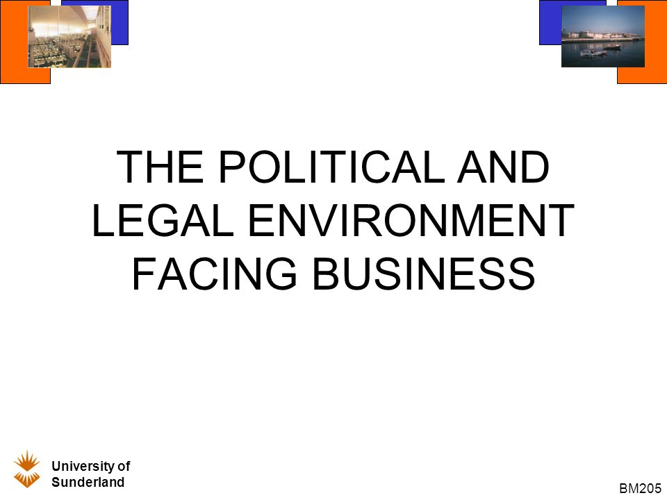 University of Sunderland BM205 I - INTRODUCTION Political and Legal Factors often play a critical role in international business marketing activities.
