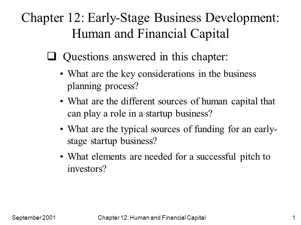 September 2001 Chapter 12: Human and Financial Capital12 The Management Team  The core team consists of individuals essential to the early formative days of the startup who will fill the following three roles: Technology specialist: is the person who understands the specific mechanics of how the product works, how it is manufactured, and how it can be utilized Sales and marketing specialist: is the person with an in- depth understanding of the startup's customer Execution specialist: is the person who keeps everything in perspective in the startup's development making the vision for the business a reality