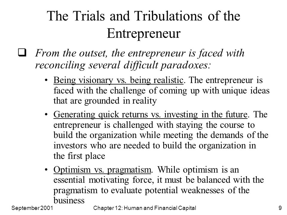 September 2001 Chapter 12: Human and Financial Capital9 The Trials and Tribulations of the Entrepreneur  From the outset, the entrepreneur is faced w