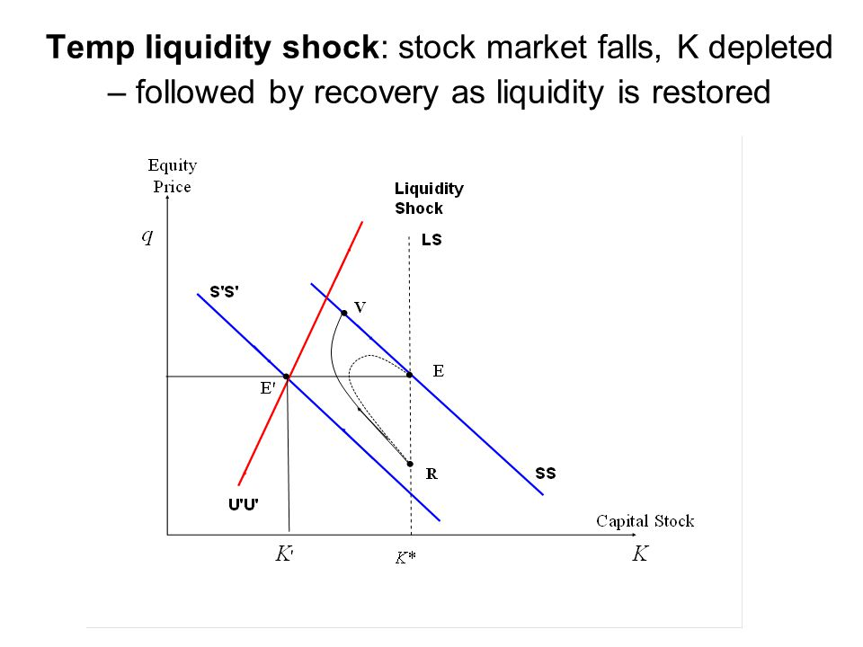 Temp liquidity shock: stock market falls, K depleted – followed by recovery as liquidity is restored