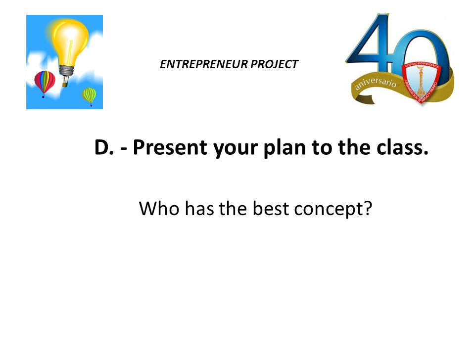 ENTREPRENEUR PROJECT D. - Present your plan to the class. Who has the best concept?