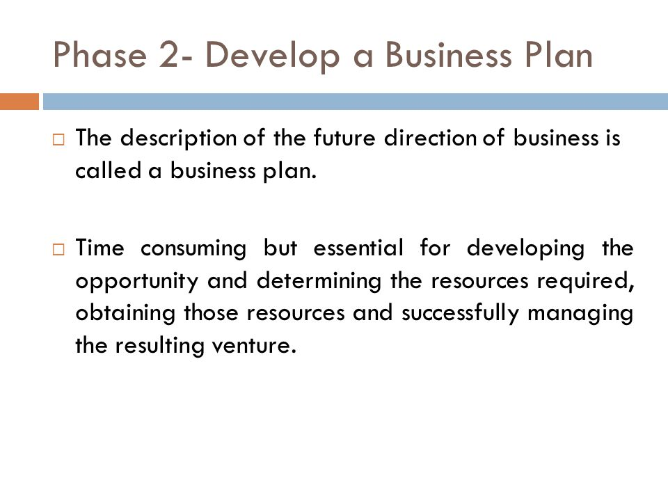 Phase 2- Develop a Business Plan  The description of the future direction of business is called a business plan.