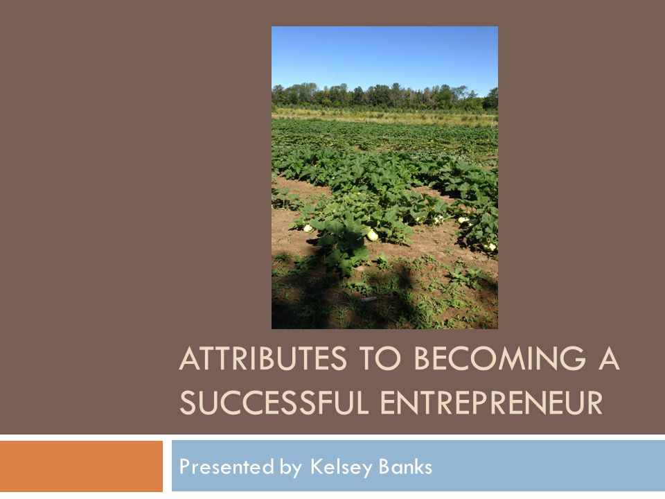 ATTRIBUTES TO BECOMING A SUCCESSFUL ENTREPRENEUR Presented by Kelsey Banks