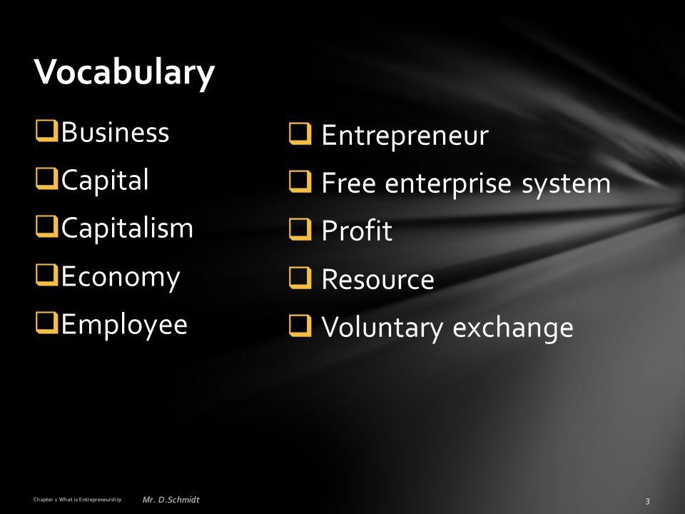  Entrepreneur  Free enterprise system  Profit  Res0urce  Voluntary exchange  Business  Capital  Capitalism  Economy  Employee Vocabulary Cha